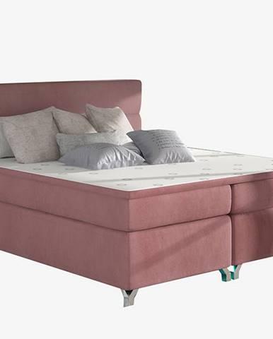 Avellino 140 čalúnená manželská posteľ s úložným priestorom ružová