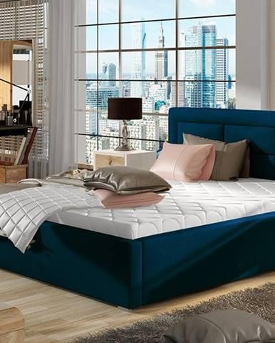 Rovigo UP 160 čalúnená manželská posteľ s roštom tmavomodrá