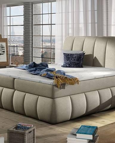Vareso 140 čalúnená manželská posteľ s úložným priestorom svetlohnedá (Orinoco 22)