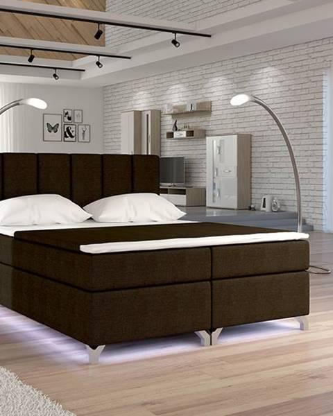 NABBI Barino 140 čalúnená manželská posteľ s úložným priestorom tmavohnedá (Sawana 26)