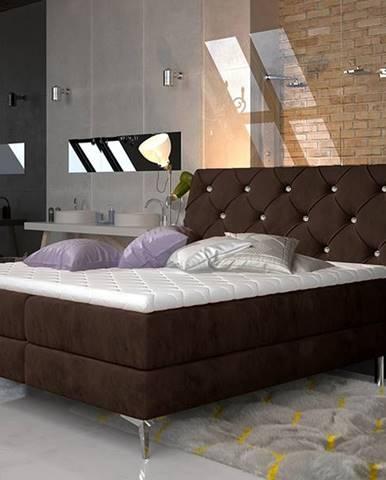 Amika 160 čalúnená manželská posteľ s úložným priestorom tmavohnedá
