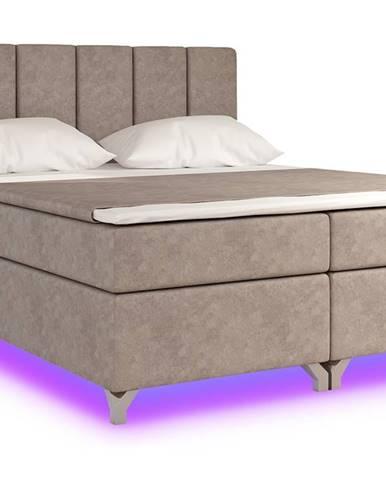 Barino 140 čalúnená manželská posteľ s úložným priestorom svetlohnedá