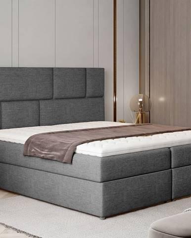 Ferine 165 čalúnená manželská posteľ s úložným priestorom sivá (Sawana 05)