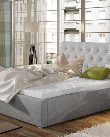 Monzo 140 čalúnená manželská posteľ s roštom svetlosivá (Sawana 21)