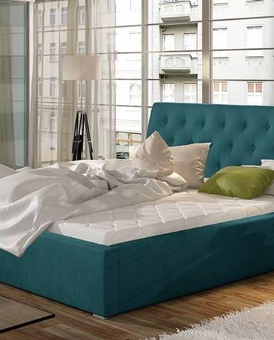 Monzo 160 čalúnená manželská posteľ s roštom tyrkysová
