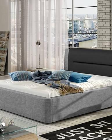 Portima 180 čalúnená manželská posteľ svetlosivá