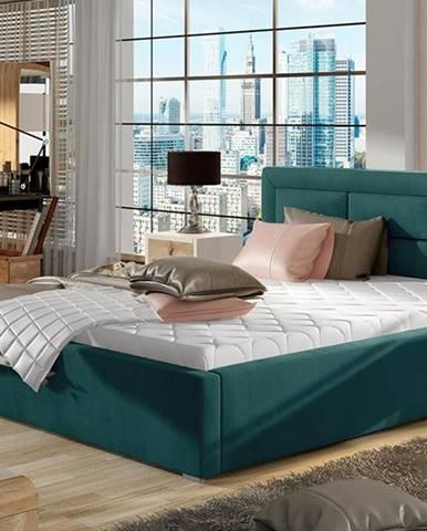 Rovigo UP 140 čalúnená manželská posteľ s roštom tyrkysová