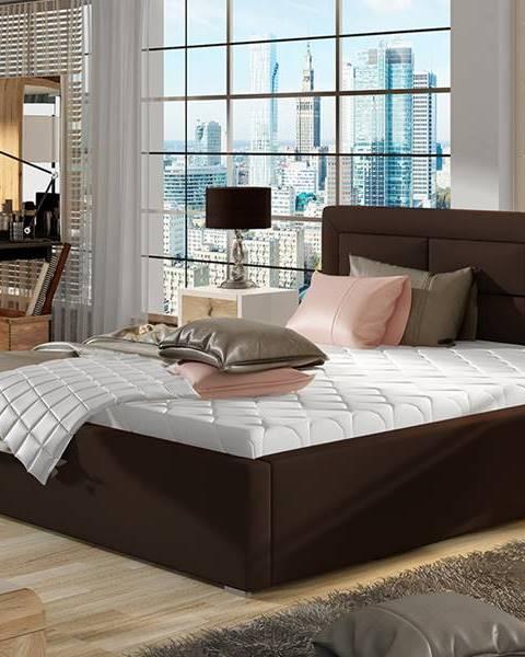 NABBI Rovigo 200 čalúnená manželská posteľ s roštom tmavohnedá (Soft 66)