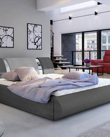 Folino 180 čalúnená manželská posteľ s roštom tmavosivá