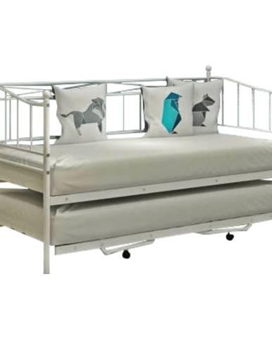 Zarola kovová rozkladacia posteľ s prístelkou biela