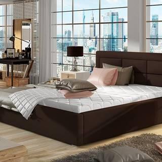 Rovigo 200 čalúnená manželská posteľ s roštom tmavohnedá (Soft 66)