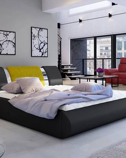 NABBI Folino 140 čalúnená manželská posteľ s roštom čierna