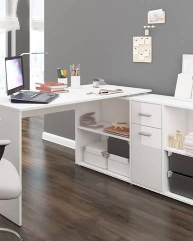 Beat P rohový písací stôl biela