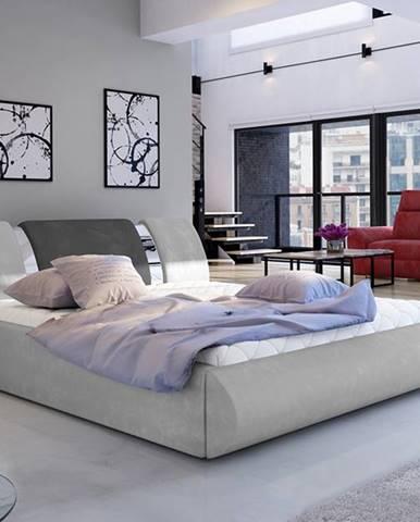 Folino 160 čalúnená manželská posteľ s roštom svetlosivá