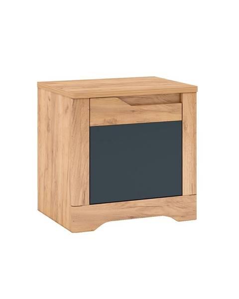 Tempo Kondela Fidel X1 L nočný stolík dub craft zlatý