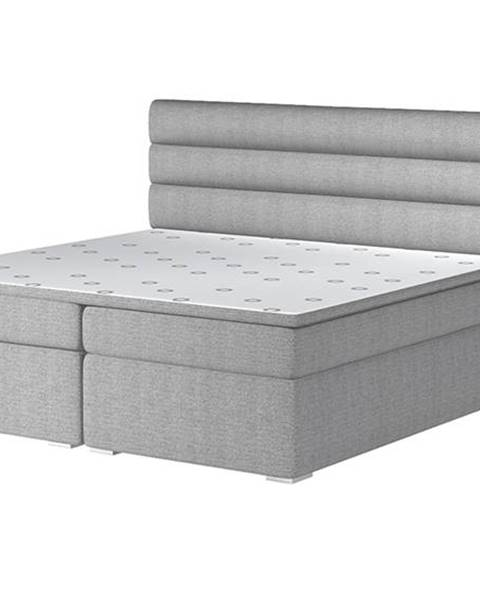 NABBI Spezia 160 čalúnená manželská posteľ s úložným priestorom svetlosivá (Orinoco 21)