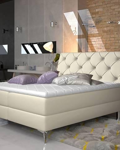 Amika 140 čalúnená manželská posteľ s úložným priestorom béžová