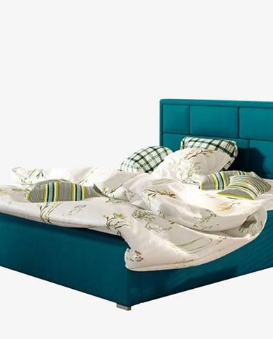 Liza UP 180 čalúnená manželská posteľ s roštom tyrkysová