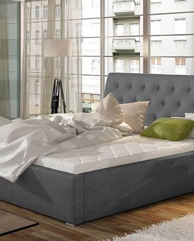 Monzo UP 180 čalúnená manželská posteľ s roštom tmavosivá