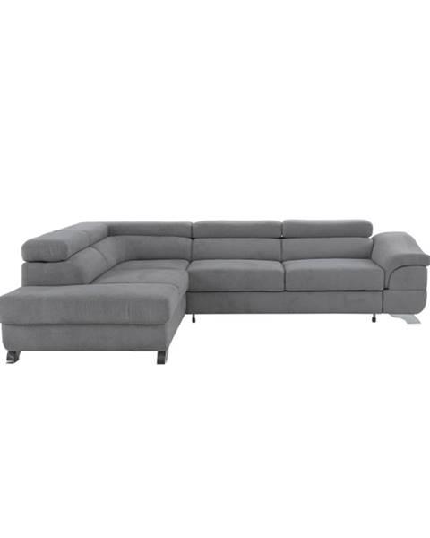 Tempo Kondela Legas L rohová sedačka s rozkladom a úložným priestorom sivá
