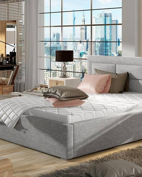 NABBI Rovigo 200 čalúnená manželská posteľ s roštom svetlosivá (Sawana 21)