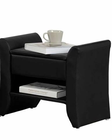 Bolton čalúnený nočný stolík čierna