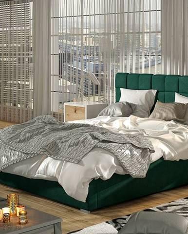 Galimo 200 čalúnená manželská posteľ s roštom tmavozelená