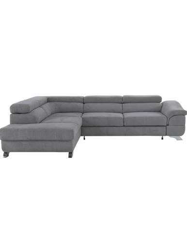 Legas L rohová sedačka s rozkladom a úložným priestorom sivá