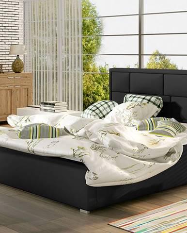 Liza UP 140 čalúnená manželská posteľ s roštom čierna
