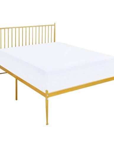 Zahara kovová jednolôžková posteľ s roštom zlatá