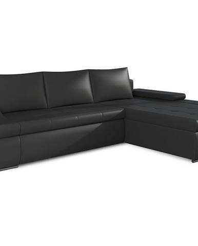 Oristano P rohová sedačka s rozkladom a úložným priestorom čierna (Soft 11)