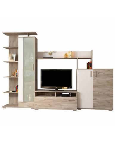Pierino LR obývacia stena dub craft sivý