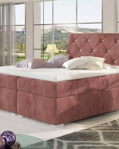 Beneto 140 čalúnená manželská posteľ s úložným priestorom ružová (Kronos 29)