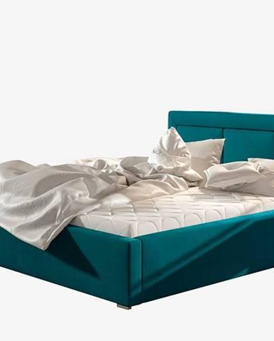 Branco UP 180 čalúnená manželská posteľ s roštom tyrkysová