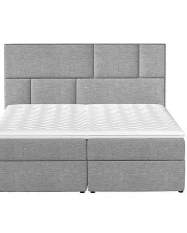 Ferine 185 čalúnená manželská posteľ s úložným priestorom svetlosivá