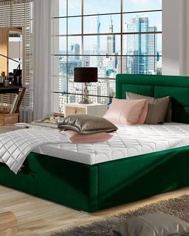 Rovigo UP 200 čalúnená manželská posteľ s roštom tmavozelená