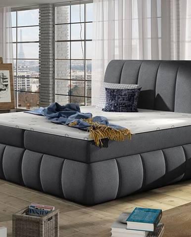 Vareso 160 čalúnená manželská posteľ s úložným priestorom tmavosivá (Orinoco 96)