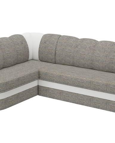 Belluno L rohová sedačka s rozkladom a úložným priestorom sivá