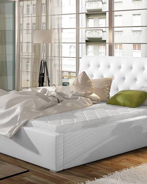 NABBI Monzo UP 200 čalúnená manželská posteľ s roštom biela