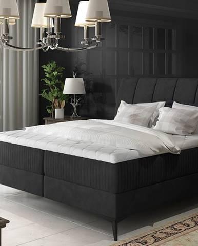 Altama 180 čalúnená manželská posteľ s úložným priestorom čierna (Ontario 100)