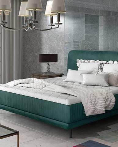 Ancona 160 čalúnená manželská posteľ tmavozelená