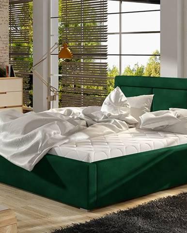 Branco UP 200 čalúnená manželská posteľ s roštom tmavozelená