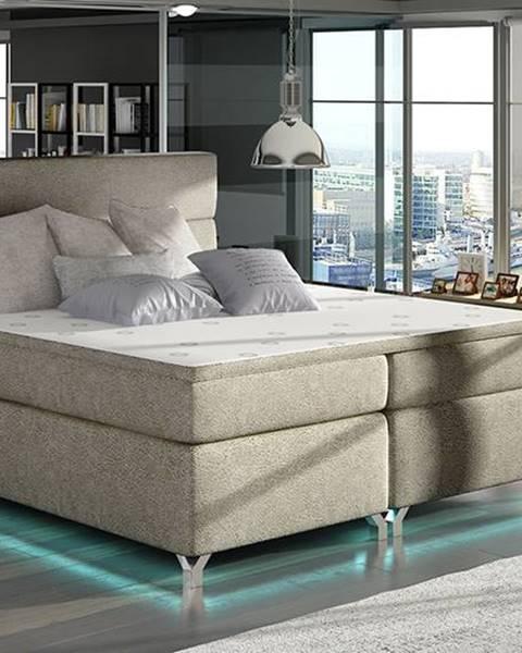 NABBI Avellino 140 čalúnená manželská posteľ s úložným priestorom svetlohnedá
