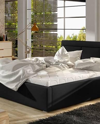 Branco 160 čalúnená manželská posteľ s roštom čierna