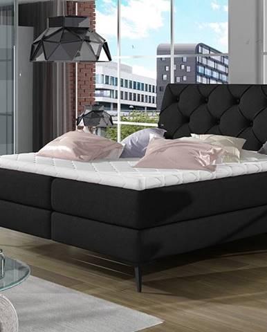 Lazio 140 čalúnená manželská posteľ s úložným priestorom čierna (Sawana 14)