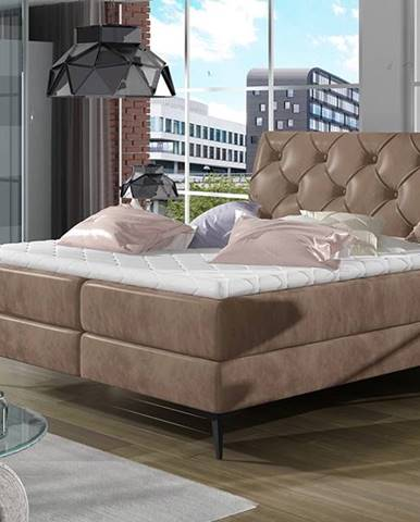 Lazio 160 čalúnená manželská posteľ s úložným priestorom hnedá