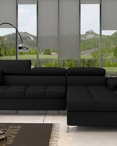 Rosino P rohová sedačka s rozkladom a úložným priestorom čierna (Sawana 14)
