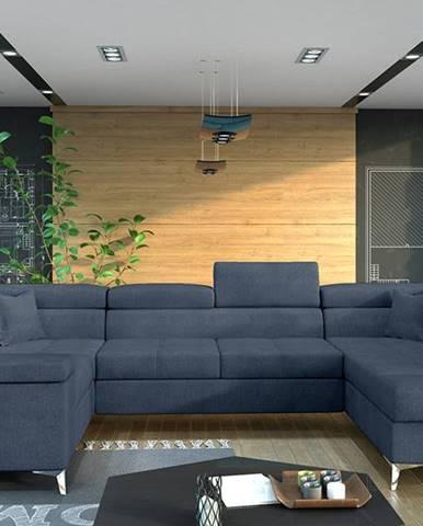 Torres U L rohová sedačka u s rozkladom a úložným priestorom modrá