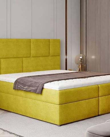 Ferine 185 čalúnená manželská posteľ s úložným priestorom žltá