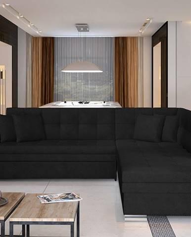 Pescara P rohová sedačka s rozkladom čierna (Ontario 100)